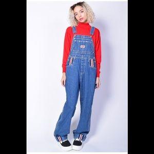 Vintage 90s Red Blue Jean Denim Overalls Medium